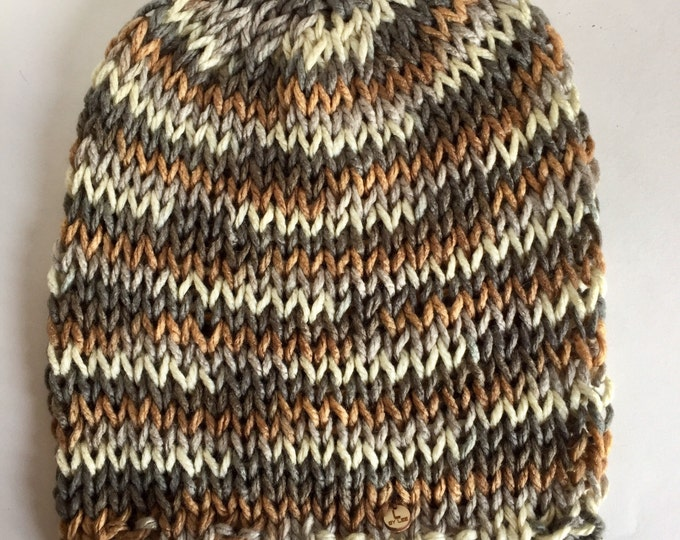 Men's Neutral Lightweight Oversize Slouchy Beanie, Extra Large Loose Knit Slouchy Hat in Gray, Cream and Brown, Unisex Beanies