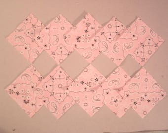 "20 Pre-cut Charm Quilt Squares 3"" Pink Bandanna Print Alexander Henry Collection 2000"