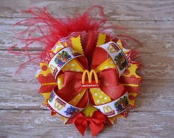 McDonalds Inspired OTT Hair Bow