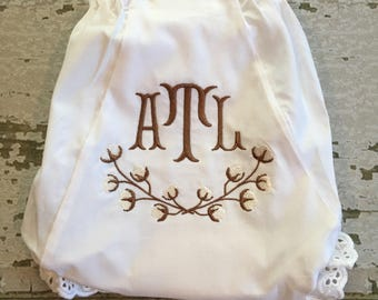 Monogrammed Diaper Cover Bloomers, Embroidered Diaper Cover, Cotton Branch Embroidered Diaper Cover, Eyelet Panties