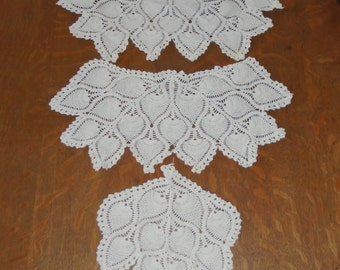 Set of 3 Vintage 20x10 & 10x9 inch Off White Crocheted Table Doily Doilies