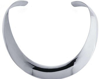 Sterling Silver Hammered Neck Ring - Textured Flat wire - 13.8mm - Collar Necklace Cuff Bangle - Collar Cuff Necklace Band
