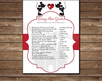 Disney Quote Match Game with Mickey and Minnie Kissing - Printable - Cinderella Castle - Instant Download