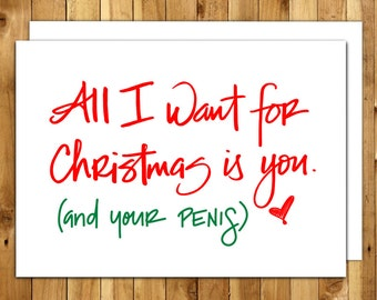 Christmas Card For Him - Boyfriend Christmas Card - Naughty Christmas Card - Funny Holiday Card - Funny Christmas - For Husband - All I Want
