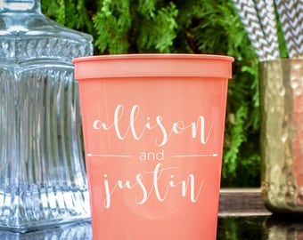 Personalized Couple's Plastic Party Cups, Couple's Names, Customizable Stadium Cups, Custom Party Cups, Engagement Party, Wedding Favors