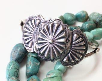 Vintage Navajo Southwestern Concho Repousse Sterling Silver Cuff Bracelet