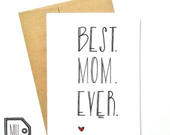 Mothers day - mothers day card - card for mom - mom card - mom - mother - thanks mom - best mom - best. mom. ever. -meilleure maman au monde