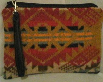 Wool Fabric Clutch Bag Purse Pendleton Wool Fabric