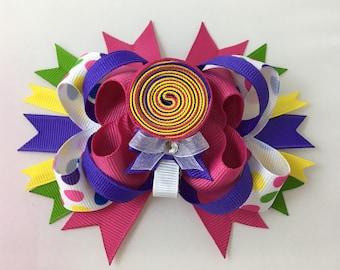 Fun Lollipop Loopy Layered Hairbow - Interchangeable Hairbow and Clippie -Lollipop clippie - Lolloipop Bow - Birthdaybow - Polka Dot Bows