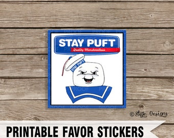 """Ghostbusters Inspired 4"""" Printable Stay Puft Birthday Party Favor Labels [INSTANT DOWNLOAD]"""