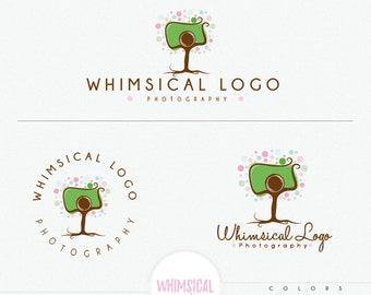 Whimsical Camera Tree Logo, children's photography branding kit, cute camera newborn photographer business logo, bright happy design circle