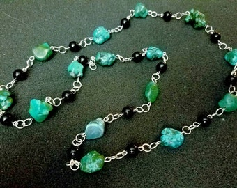 A rope of turquoise nuggets
