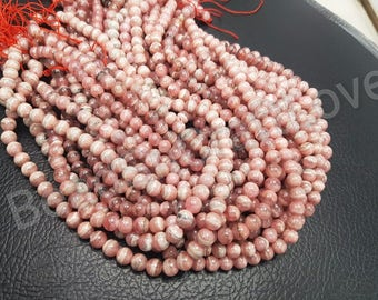 Rhodochrosite  Plain Or Smooth Round Beads, 6/8 mm   13inch AAA quality