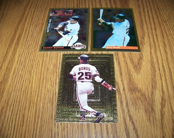 3 Vintage Barry Bonds (San Francisco Giants) Gold Cards