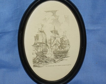 Vintage Oval Picture of The Richard and The Serapis Climactic Battle Metal Frame