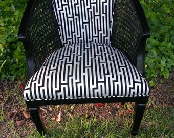 Vintage Barrel Cane Chair-Refurbished Hollywood Regency Glitz and Glam