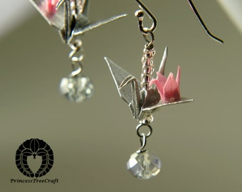 Origami crane jewelry, Origami mum and baby crane earrings, silver colour mum and pink baby