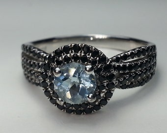 Aquamarine & Black Spinel Sterling Silver Ring