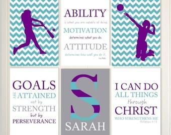 Gift for her, teen gift idea, female volleyball, volleyball spiker, softball art, inspirational Christian girls art, scripture, set of 6