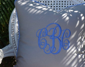 Monogrammed Piped Taupe Linen Pillow Cover/ 20x20 Toss Accent Pillow/  Designer Pillow/ Decorative Custom Personalized Pillow