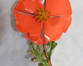 Flower Power Brooch; bright orange flower pin;1960's