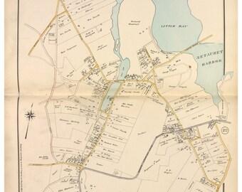 Setauket - 1917 - Long Island New York - Suffolk Co Atlas North V1-8 Brookhaven Town Map Reprint NY