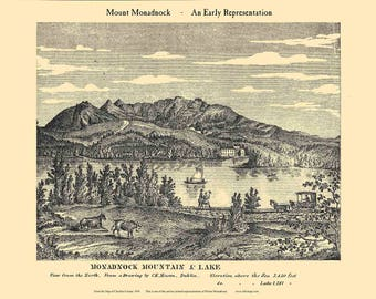 Mount Monadnock View - Stylized 1858  from the old wall map New Hampshire Reprint CheshireCo