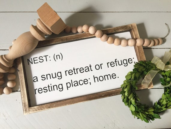 Nest definition sign typewriter font sign farmhouse style