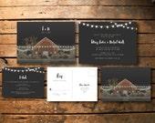Invitation de mariage de grange / / invitation de mariage rustique imprimable / / carte postale / / lumières