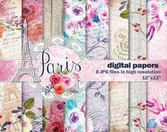 Watercolor Digital papers. Hand Painted Watercolor Scrapbook Papers. 8 Paris Inspired Digital Watercolor papers.