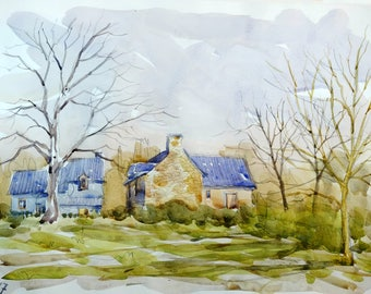 "Landscape original watercolor ""Houses in Morbihan Brittany"" painting countryside Brittany decor france landscape wall france french art"