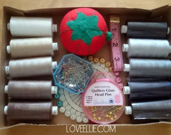 Thread and Pins Gift Set - Neutrals - Sewing thread, tomato pin cushion, sewing pins, tape measure gift box