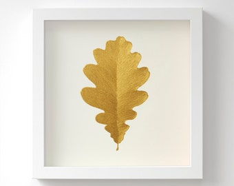 Oak Leaf – Original Acrylic Painting – Gold Leaf – Hand Painted in 6 Metallic Shades – Wall Art – Gift For Her – In 3 Sizes – Unframed