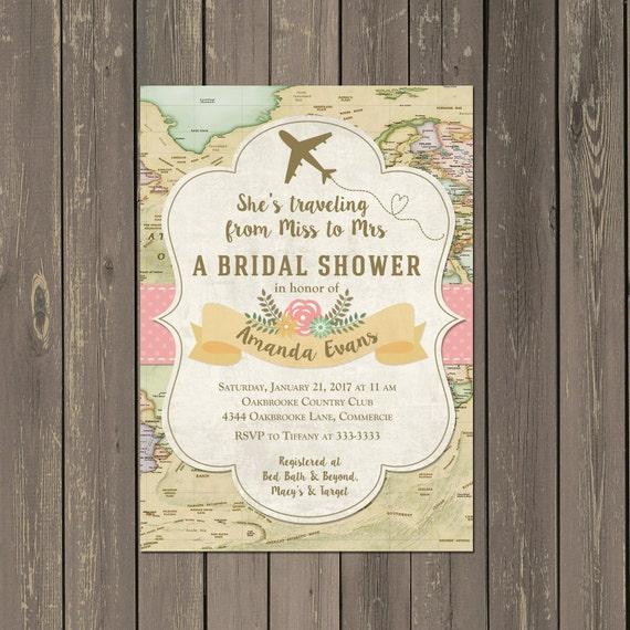 travel bridal shower invitation  miss to mrs travel themed
