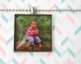 Custom Photo Necklace - Square Photo Pendant - Personalized Gift - Custom Necklace - Photo Keepsake - Picture Necklace - 35 mm Square