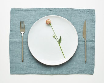 Blue Fog Stone Washed Linen Placemat