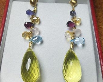 SHOPNBC 18kt Multi Gemstone Earrings Quartz Iolite Citrine Rhodolite Blue Topaz