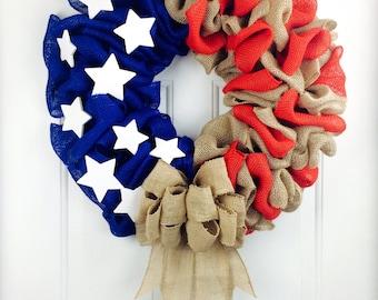 American Flag Wreath Fourth Of July Wreath Burlap Wreath Patriotic Wreath Americana Wreath July 4th Wreath Large Full Wreath Military