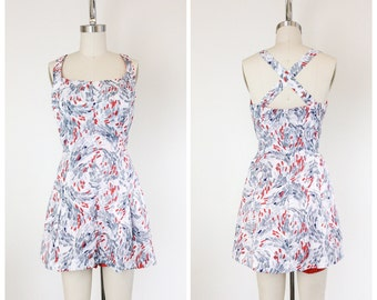 50s Red, White & Grey Playsuit Romper / 1950s Vintage One Piece Swimsuit Bathing Suit / Large