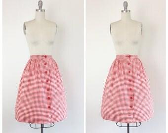 50s Red & White Checkered Skirt / 1950s Vintage Cotton Full Skirt / Medium / 27 inch waist