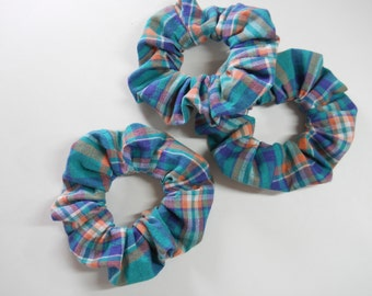 Teal Plaid Scrunchie