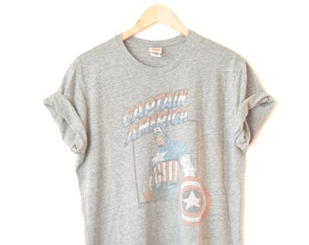 Captain America vintage grey oversized baggy tshirt // M