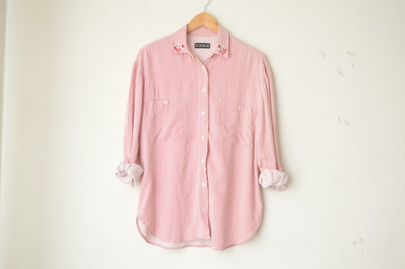Red and white striped oversized button down shirt with for Red and white button down shirt