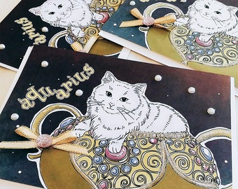 Aquarius Cat zodiac + lucky color Greeting Card (5x7 size), CAT ASTROLOGY, zodiac sign cards, white cat, Siberian, Turkish Angora