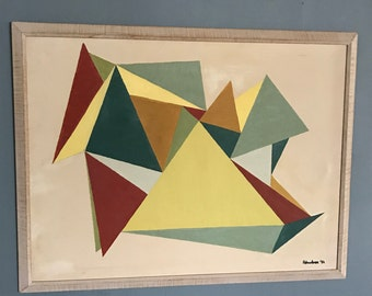 1950's Post War Abstract Painting on Canvas, Signed