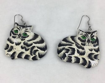Statement Painted Wood Tabby Cat Earrings
