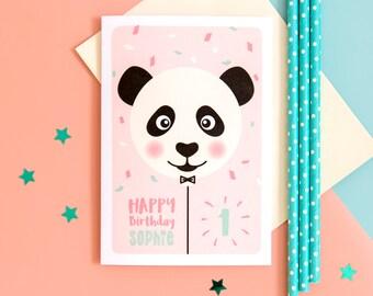 1st Birthday Card // Girls Birthday Card // Personalised 1st Birthday Card // Panda Birthday Card // Girls 1st Birthday Card