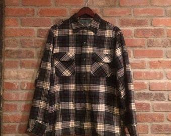 Vintage Tartan Plaid Pendleton Button Down Shirt Made in USA 1960 Pendleton Woolen Mills
