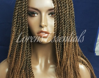 "Ready to ship-Crotchet braided wig. Brown-Gold  ombre wig 14"". Senegalese twist Crotchet Wig"