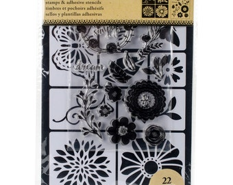Art-C FLOWERS & BUGS Stamp and Adhesive Stencil set Butterfly nature live simply 26882 - NEW 1.cc02